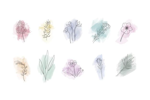 Verzameling van hand getrokken bloemen op aquarel vlekken Gratis Vector