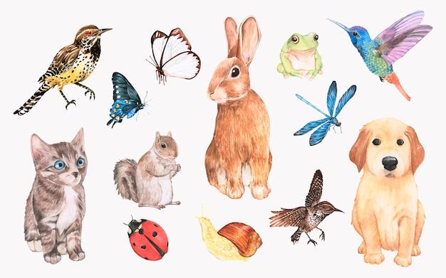 Verzameling van hand getrokken dieren Gratis Vector