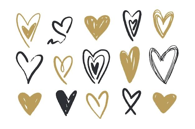 Verzameling van hand getrokken harten Gratis Vector