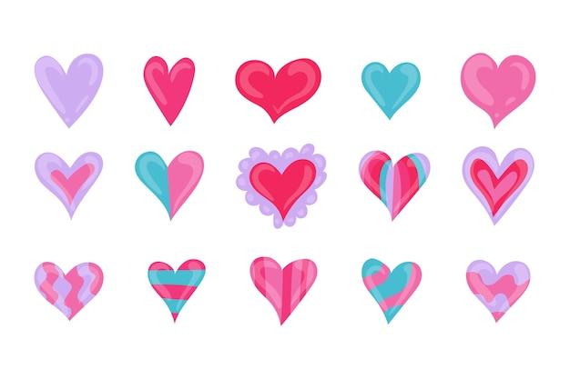 Verzameling van hand getrokken hartillustraties Gratis Vector
