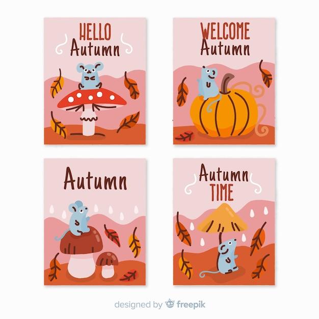 Verzameling van hand getrokken herfst kaarten Gratis Vector