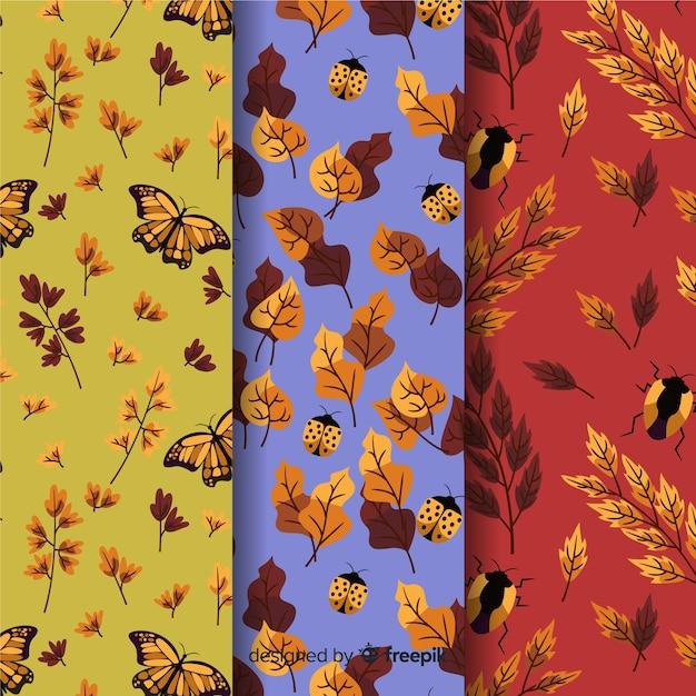 Verzameling van hand getrokken herfst patronen Gratis Vector