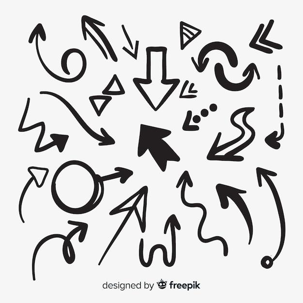 Verzameling van hand getrokken pijlen Gratis Vector