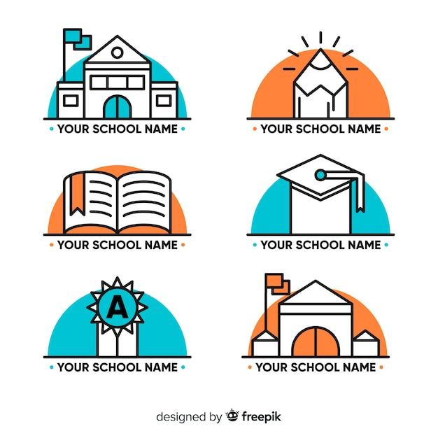 Verzameling van hand getrokken school logo's Gratis Vector