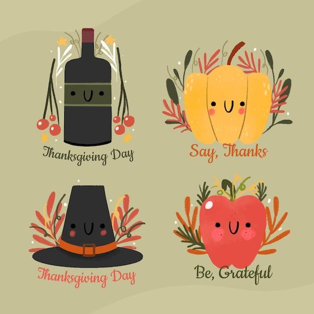 Verzameling van hand getrokken thanksgiving label Gratis Vector