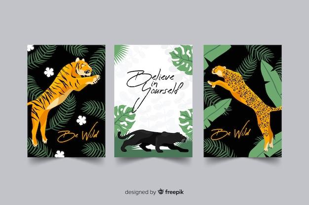 Verzameling van hand getrokken tijger kaarten Gratis Vector