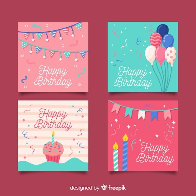 Verzameling van hand getrokken verjaardagskaarten Gratis Vector