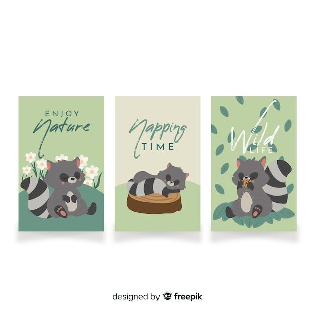 Verzameling van hand getrokken wasbeer kaarten Gratis Vector