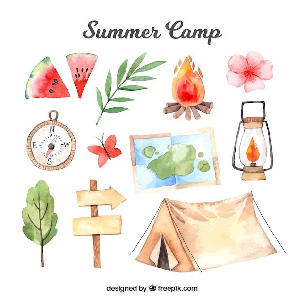Verzameling van hand getrokken zomerkamp elementen Gratis Vector