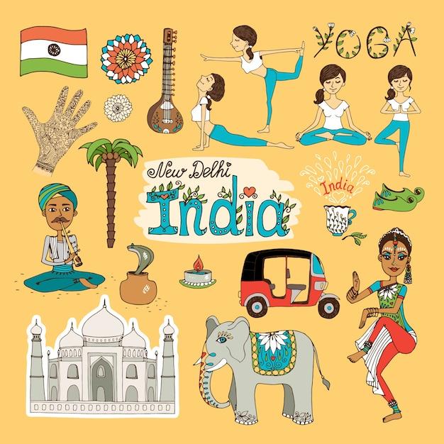 Verzameling van handgetekende bezienswaardigheden van india Gratis Vector