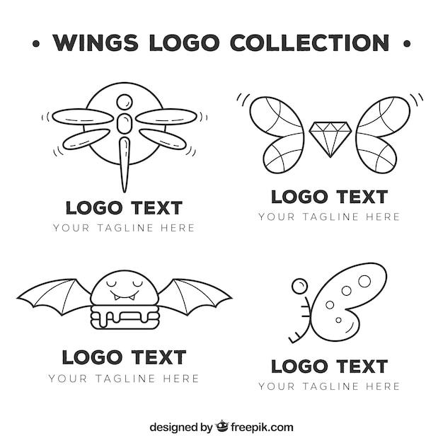 Verzameling van handgetekende logo's met vleugels Gratis Vector