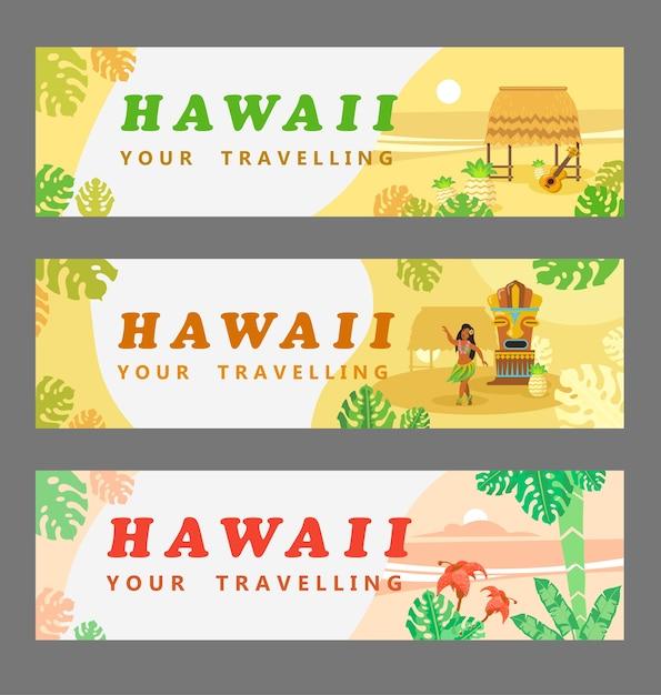 Verzameling van hawaiiaanse banners. reizen, palmen, vrouw, gitaar, bloem Gratis Vector