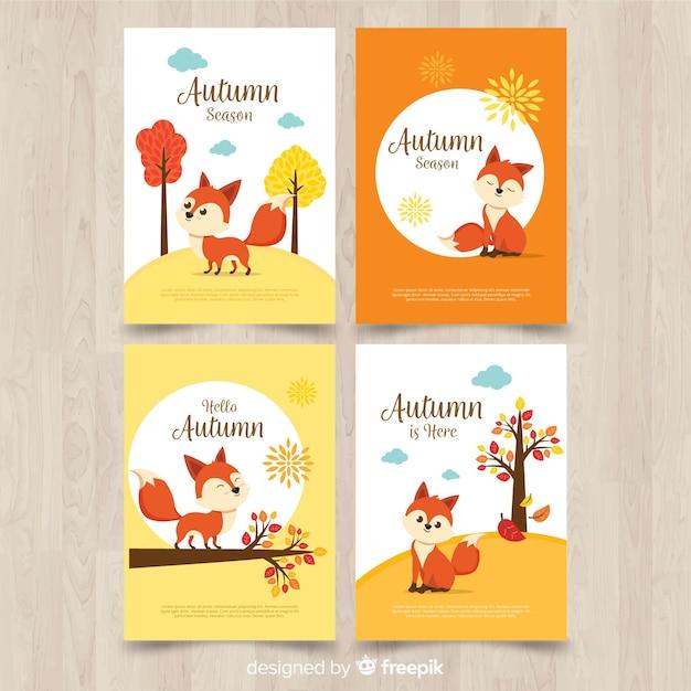 Verzameling van herfst kaarten platte ontwerp Gratis Vector