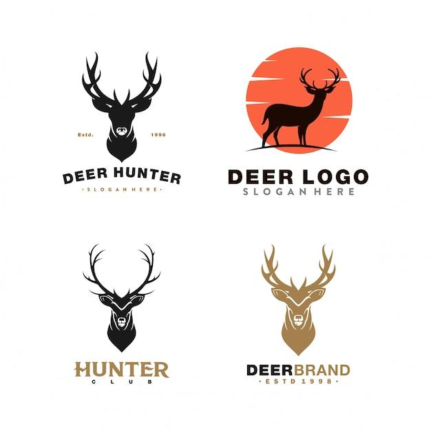 Verzameling van herten logo illustratie Premium Vector