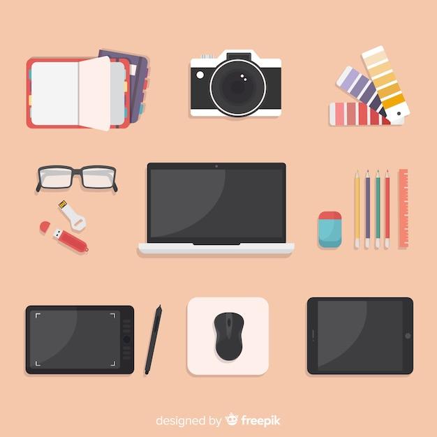 Verzameling van hulpmiddelen voor plat grafisch ontwerp Gratis Vector