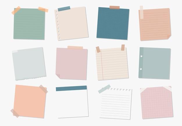 Verzameling van illustraties met plaknotities Gratis Vector