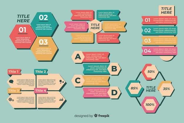Verzameling van infographic elementen platte ontwerp Gratis Vector