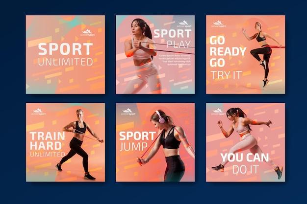 Verzameling van instagram-berichten voor fitness in de sportschool Gratis Vector