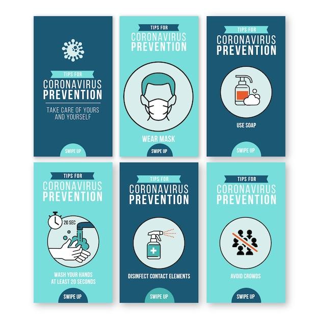 Verzameling van instagram-verhalen voor preventie van coronavirus Gratis Vector