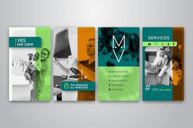Verzameling van instagram-verhalen voor veterinaire bedrijven Gratis Vector