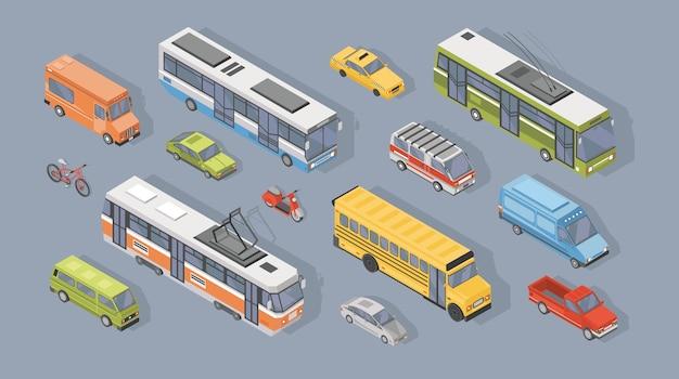 Verzameling van isometrische motorvoertuigen geïsoleerd op grijs Premium Vector