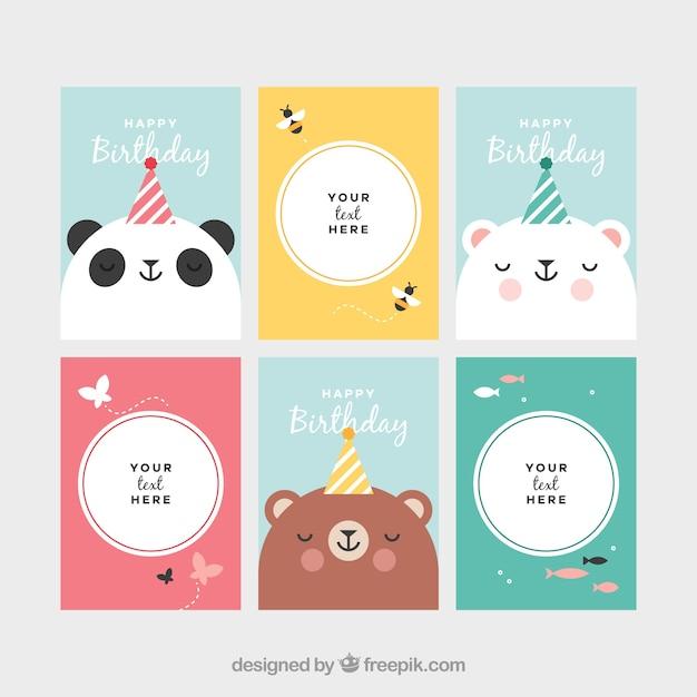 Verzameling van kaarten met dieren bij verjaardagsfeest Gratis Vector