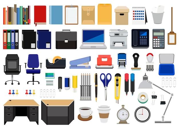 Verzameling van kantoorbenodigdheden Gratis Vector
