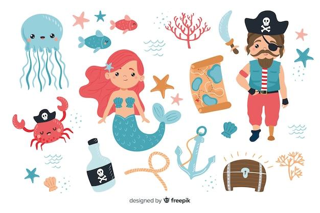 Verzameling van karakters uit het mariene leven Gratis Vector