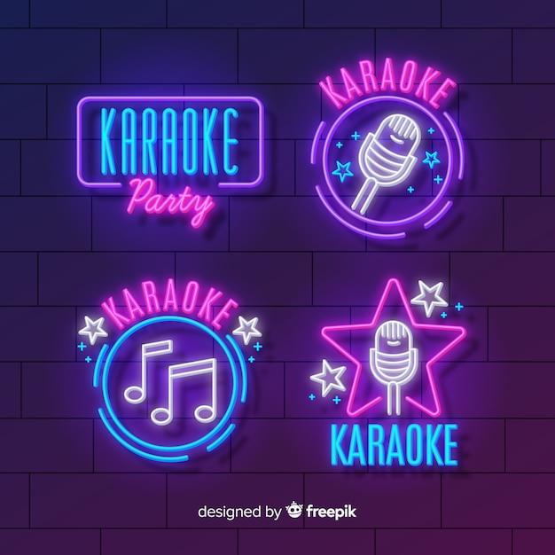 Verzameling van karaoke neonlichten Gratis Vector