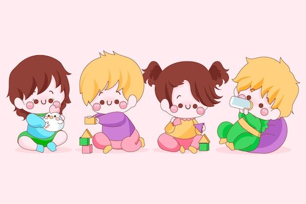 Verzameling van kawaii japanse baby's Gratis Vector