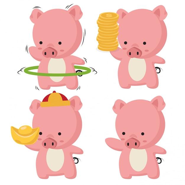 Verzameling van kleine piggy Premium Vector