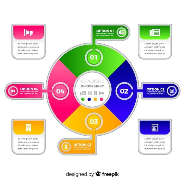 Verzameling van kleurovergang infographic element Gratis Vector