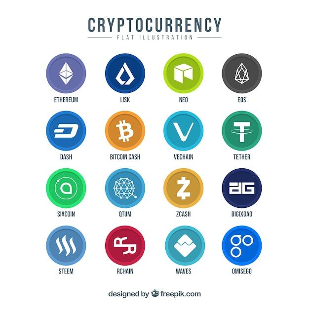 Verzameling van kleurrijke cryptocurrency munten Gratis Vector