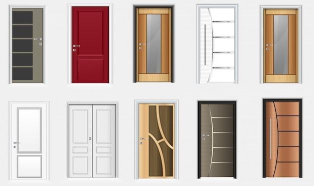 Verzameling van kleurrijke kamer deuren pictogrammen Premium Vector