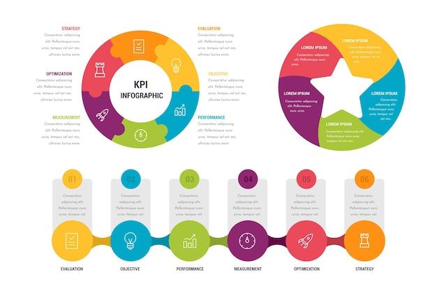 Verzameling van kleurrijke kpi infographics Gratis Vector