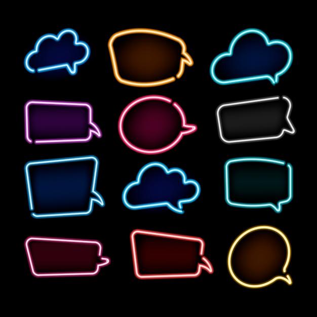 Verzameling van kleurrijke neon tekstballonnen met ruimte voor tekst Premium Vector