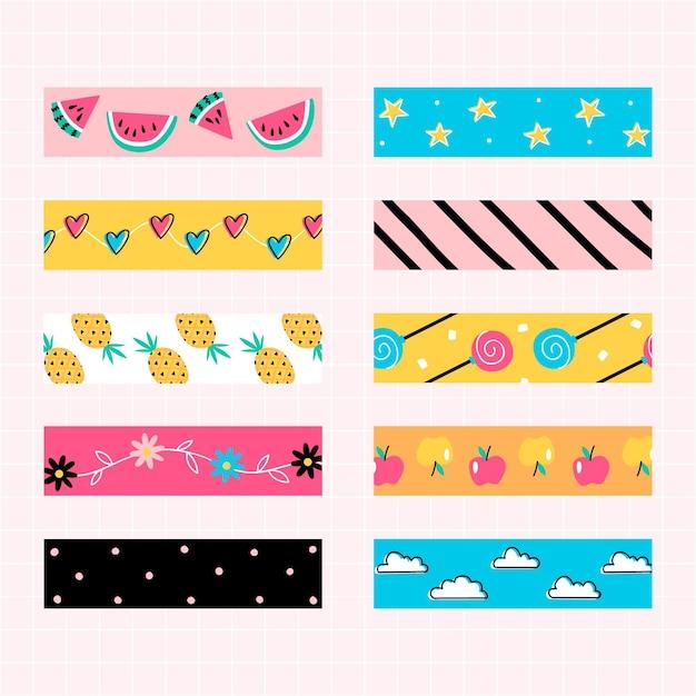 Verzameling van kleurrijke patroon plakboekband Premium Vector