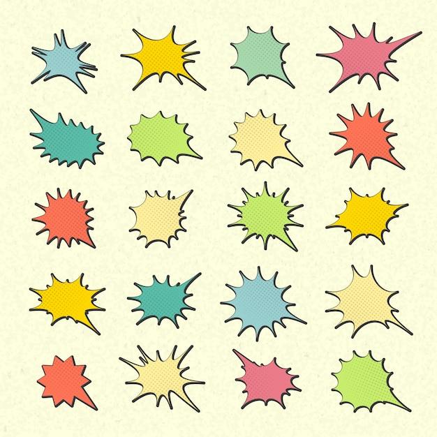 Verzameling van kleurrijke tekstballonnen in pop-art stijl. elementen van ontwerpstrippagina's. set van gedachte of communicatie bubbels Premium Vector