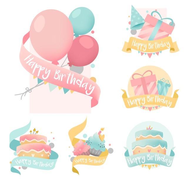Verzameling van kleurrijke verjaardag badge vectoren Gratis Vector