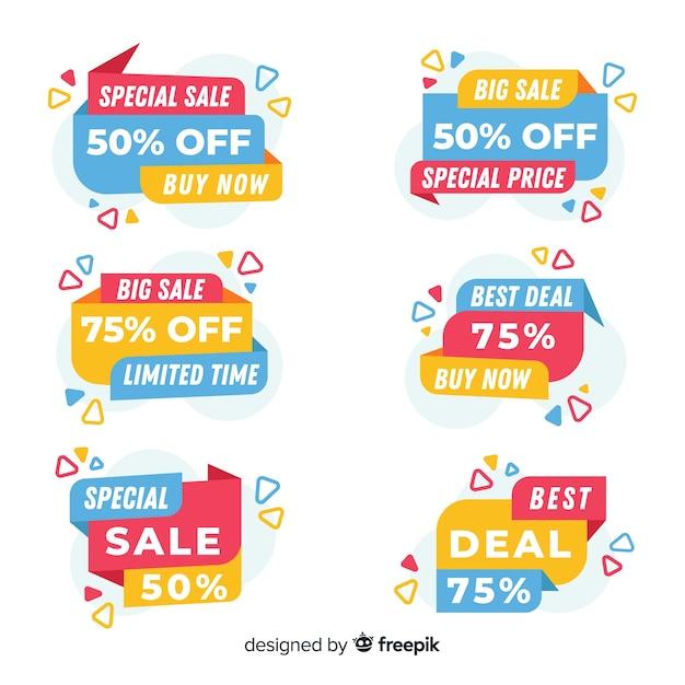 Verzameling van kleurrijke verkoop banners Gratis Vector
