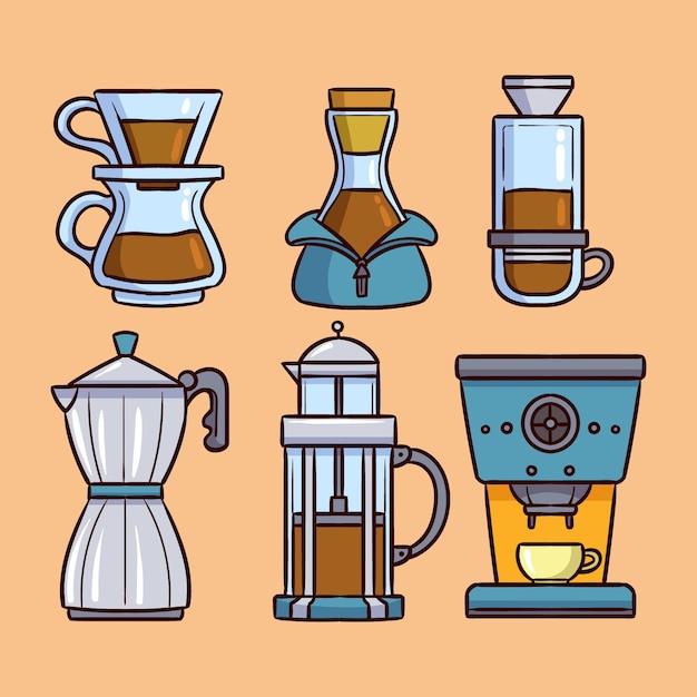 Verzameling van koffiezetmethoden in plat ontwerp Gratis Vector
