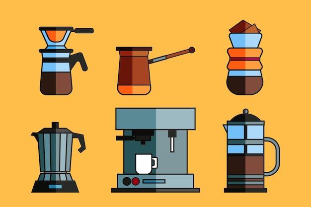 Verzameling van koffiezetmethoden Gratis Vector