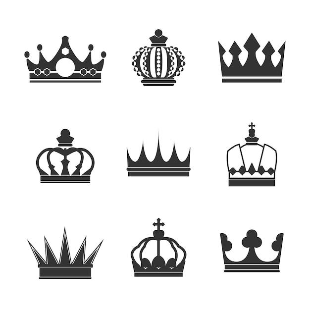 Verzameling van koninklijke kroon vectoren Gratis Vector