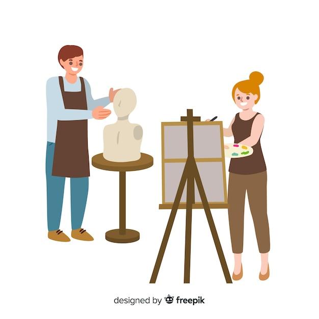Verzameling van kunstenaars op het werk Gratis Vector