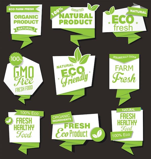 Verzameling van labels met natuurlijke biologische producten Premium Vector
