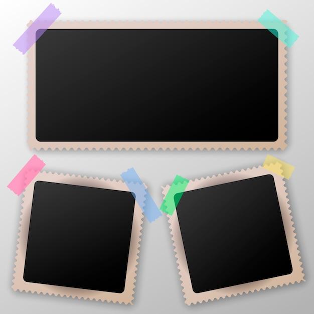 Verzameling van lege fotolijsten met transparante schaduweffecten. plakband. Premium Vector