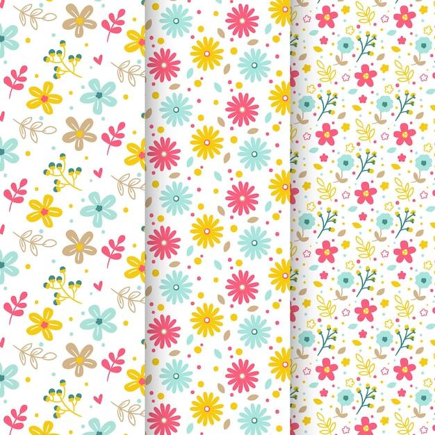 Verzameling van lente patronen Gratis Vector
