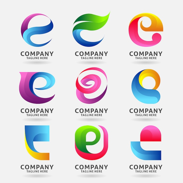 Verzameling van letter e moderne logo sjabloonontwerp Premium Vector
