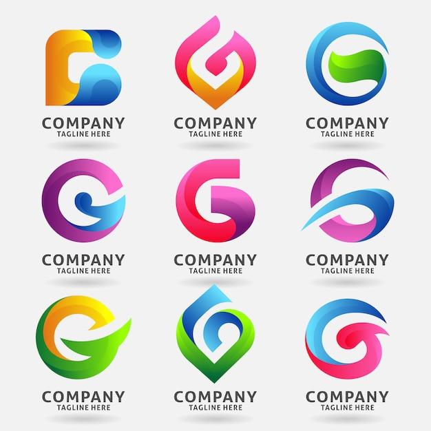 Verzameling van letter g moderne logo sjabloonontwerp Premium Vector
