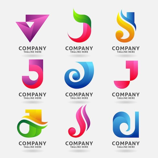 Verzameling van letter j moderne logo sjabloonontwerp Premium Vector